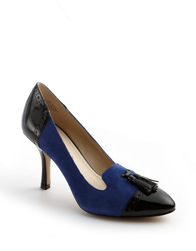 ANNE KLEINBrittany Suede & Patent Leather Oxford Pumps