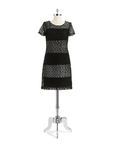 MUSEStriped Eyelet Sheath Dress