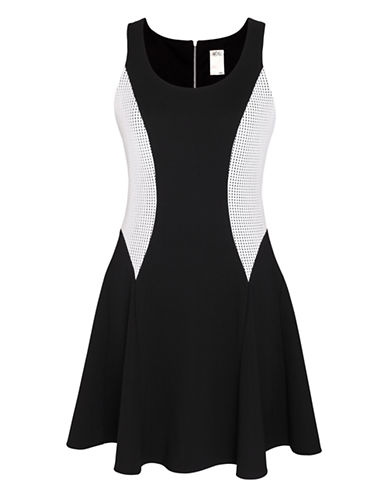 ALI RO Mesh Inset Fit and Flare Dress