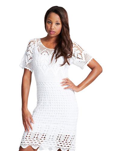 DONNA MORGANShort Sleeve Crochet Dress