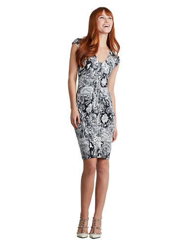 Shop Donna Morgan online and buy Donna Morgan Graphic Print and Ruched Bodycon Dress dress online