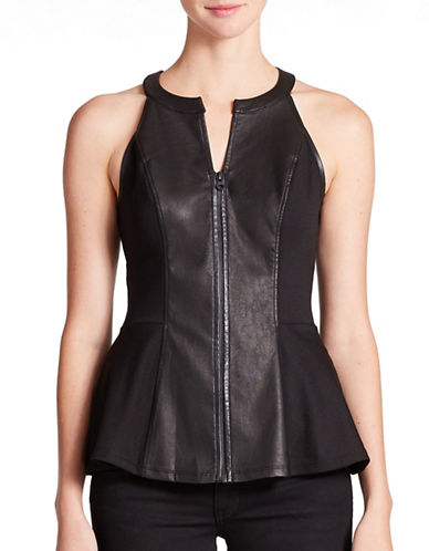 GUESSFaux Leather Peplum Top