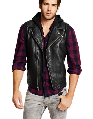 GUESSFaux Leather Hooded Moto Vest