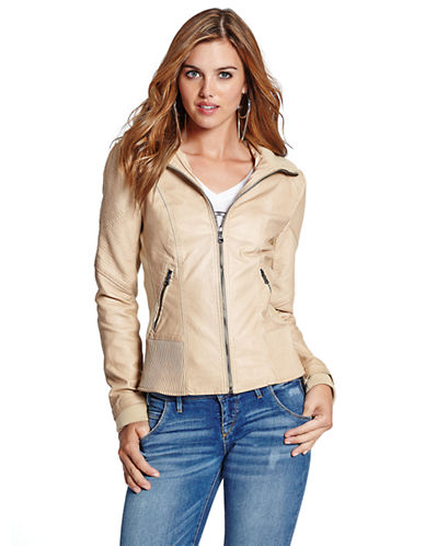 GUESS Jackie Coated Cotton Moto Jacket