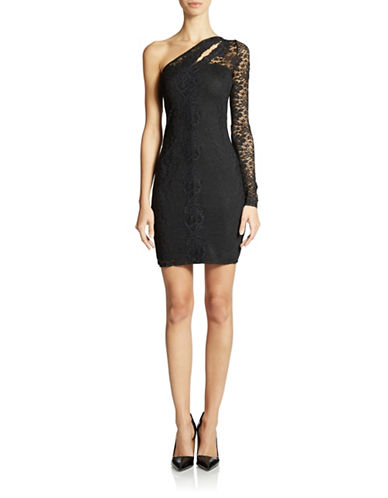 Shop Guess online and buy Guess One Shoulder Lace Sheath Dress dress online
