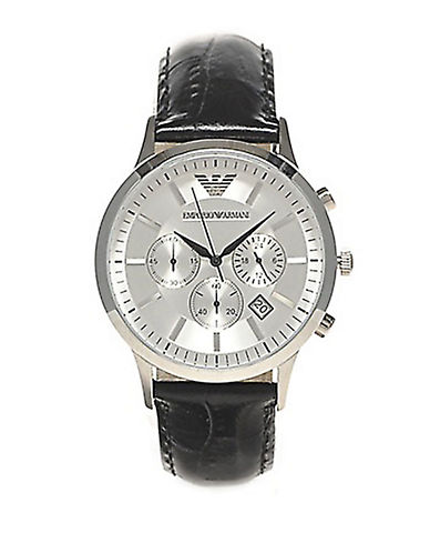 EMPORIO ARMANIMens Stainless Steel Watch with Leather Strap