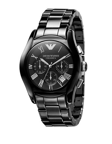EMPORIO ARMANI Mens Black Ceramic Chronograph Watch