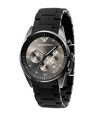 EMPORIO ARMANIMens Gunmetal Stainless Steel and Silicone Chronograph Watch