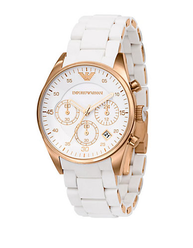 EMPORIO ARMANILadies White Stainless Steel and Silicone Chronograph Watch
