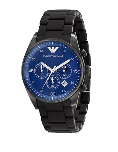 EMPORIO ARMANI Mens Black Stainless Steel and Silicone Chronograph Watch