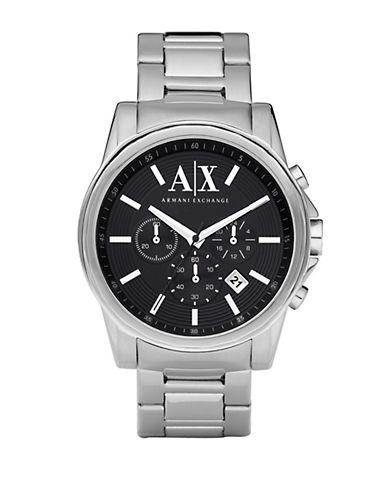 ARMANI EXCHANGEMens Round Silver Stainless Steel Chronograph Watch