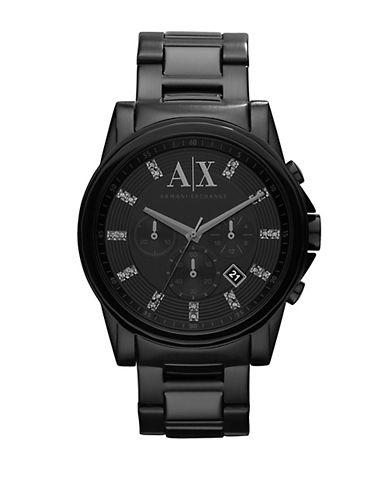 ARMANI EXCHANGEMens Round Black Stainless Steel Watch with Swarovski Stones