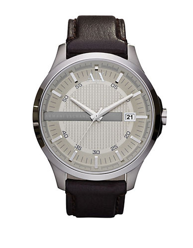 ARMANI EXCHANGE Mens Round Silver and Leather Quartz Watch