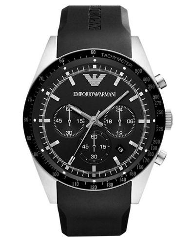 EMPORIO ARMANIMens Black Round Chronograph Watch