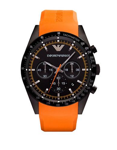 EMPORIO ARMANIMens Orange and Black Chronograph Watch