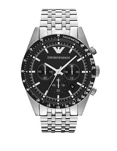 EMPORIO ARMANIMens Silver and Black Chronograph Watch