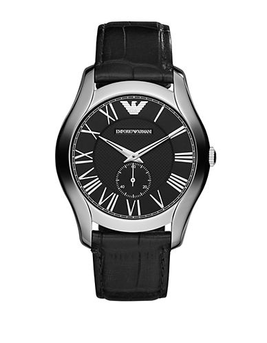 EMPORIO ARMANIMens Silver-Tone and Leather Chronograph Watch