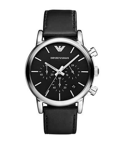 EMPORIO ARMANI Mens Luigi Silver-Tone and Black Chronograph Watch