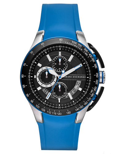 ARMANI EXCHANGE Mens Stainless Steel Chronograph Watch with Cobalt Silicone Strap
