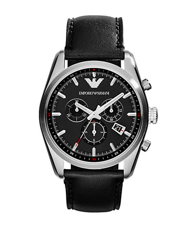 EMPORIO ARMANI Mens New Tazio Silver-Tone and Black Chronograph Watch