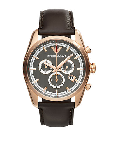 EMPORIO ARMANI Mens Rose Goldtone Stainless Steel Chronograph Watch