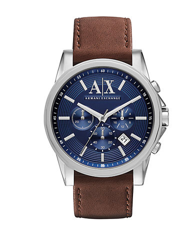ARMANI EXCHANGE Mens Leather Strap Chronograph Watch with Blue Dial