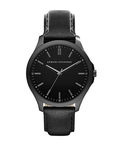 ARMANI EXCHANGEMens Black Plated Stainless Steel Watch with Leather Strap