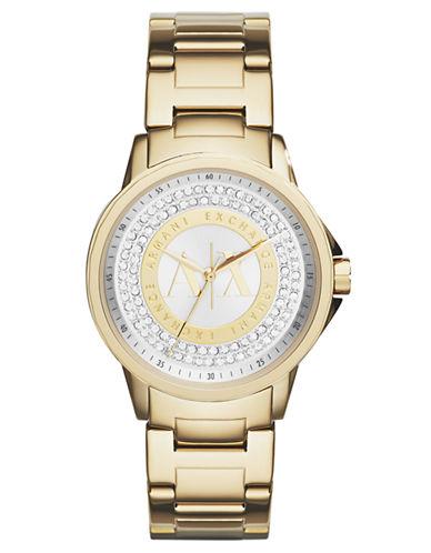 ARMANI EXCHANGELadies Gold Tone Stainless Steel Glitz Watch