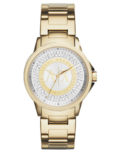 Armani Exchange Ladies Gold Tone Stainless Steel Glitz Watch