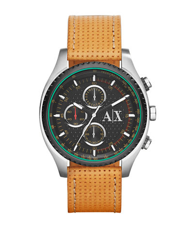 ARMANI EXCHANGEMens Stainless Steel Chronograph Watch with Perforated Leather Strap