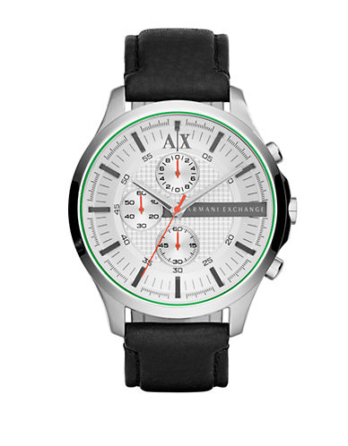 ARMANI EXCHANGEStainless Steel Leather Strap Chronograph Watch