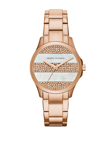 ARMANI EXCHANGE Mother-Of-Pearl and Rose Goldtone Stainless Steel Watch