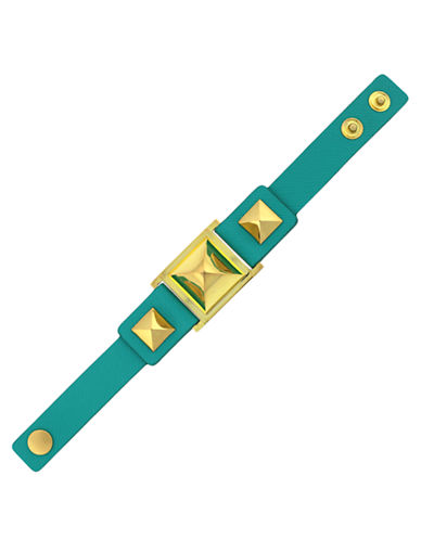 VINCE CAMUTOGold Tone and Spectra Green Leather Bracelet