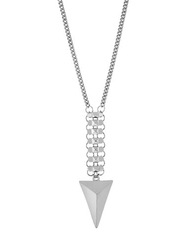 BCBGENERATIONSilver Tone Mixed Chain and Pyramid Pendant Necklace