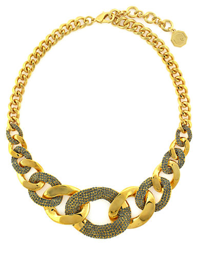 LOUISE ET CIE Crystallized Gold Tone Curb Chain Necklace