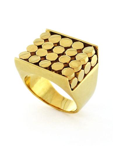 LOUISE ET CIEGold Tone Octagon Plaque Ring