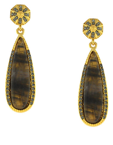 LOUISE ET CIE Gold Tone Crystal Stone Drop Earrings
