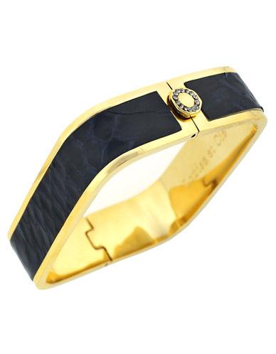 LOUISE ET CIEGold Tone and Leather Square Bangle Bracelet