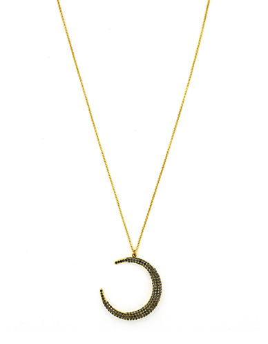 LOUISE ET CIE Gold Tone and Crystal Crescent Moon Necklace