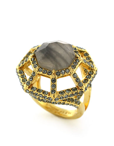 LOUISE ET CIE Gold Plated Faceted Micro Pave Stone Ring