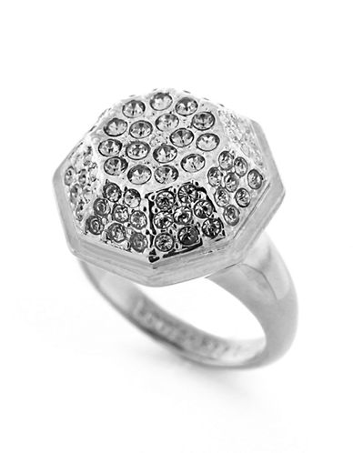 LOUISE ET CIERhodium Plated Pave Octagon Ring