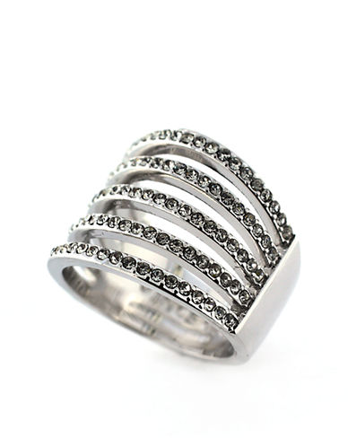 VINCE CAMUTOSilver Tone and Crystal Multi Band Wide Ring