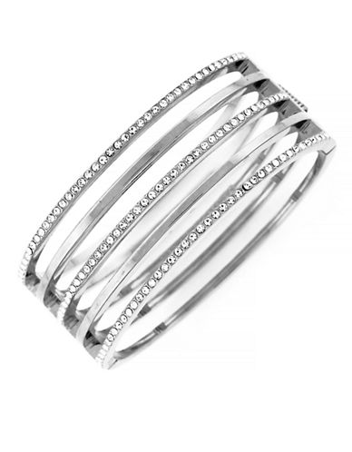 VINCE CAMUTOSilver Tone and Crystal Stacked Bangle Bracelet