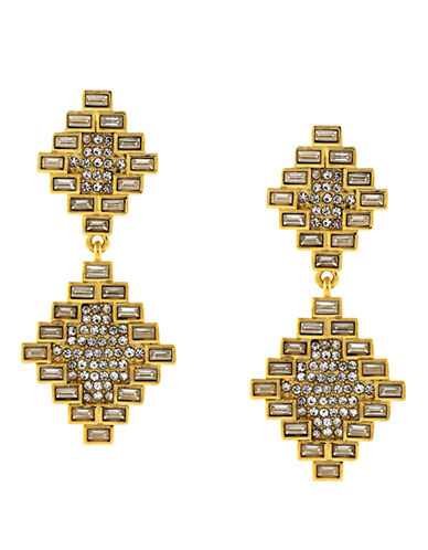 VINCE CAMUTO Gold Tone and Glitz Baguette Double Drop Earrings
