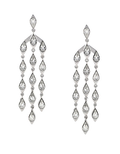 VINCE CAMUTO Silver-Tone and Clear Stone Chandelier Drop Earrings