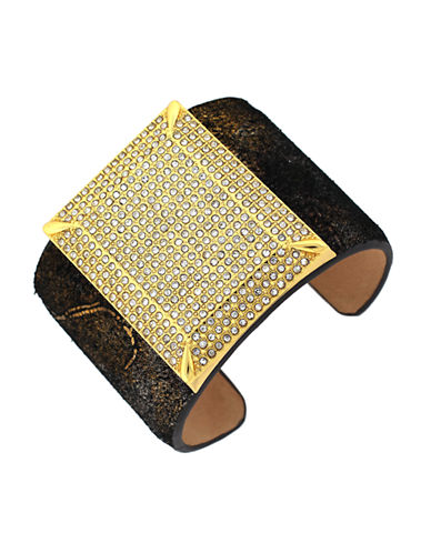 VINCE CAMUTO Glitz Gold-Tone and Multi-Metallic Leather Cuff Bracelet