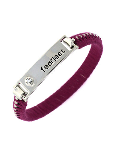 BCBGENERATIONSilver Tone and Raspberry Fearless Bracelet