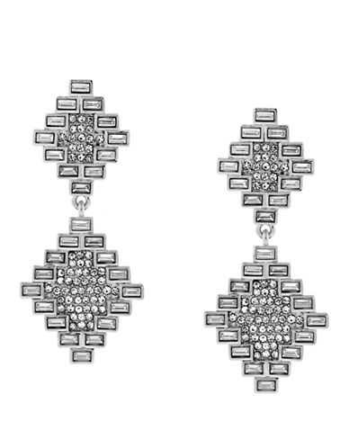 VINCE CAMUTO Silver Tone and Glitz Baguette Double Drop Earrings