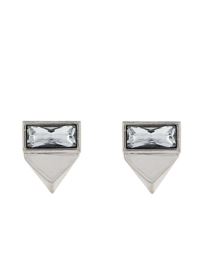 VINCE CAMUTOSilver-Tone and Clear Stone Geometric Stud Earrings