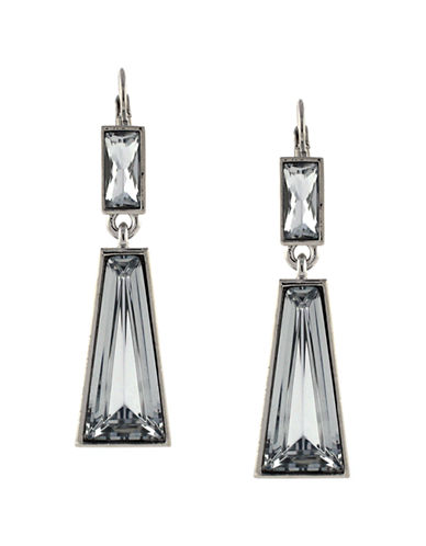 VINCE CAMUTO Silver-Tone and Double Geometric Stone Drop Earrings